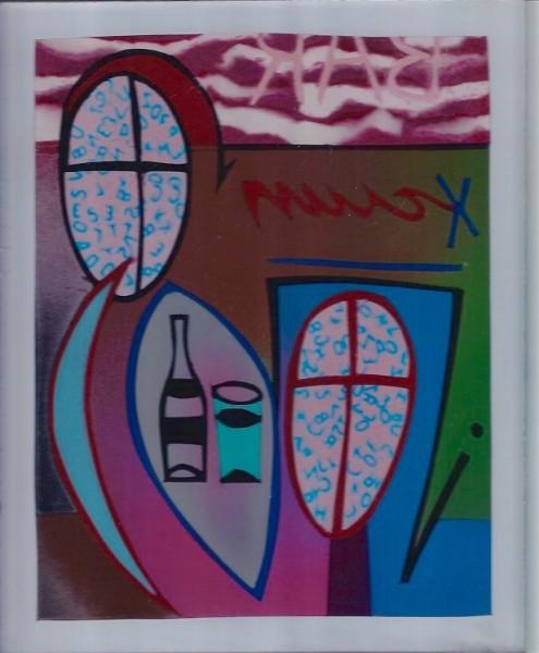 Bar Scene 10×8 Krylon on reverse Plexiglass