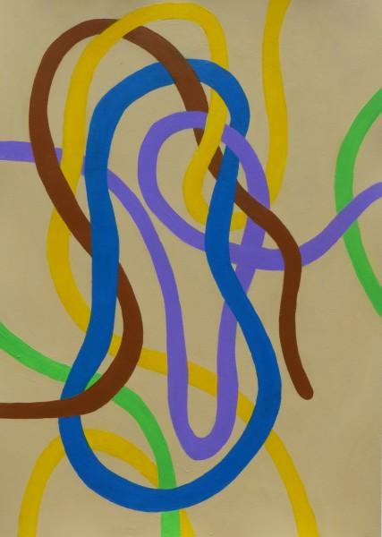 Blueband_friends 30×23 Oil on paper