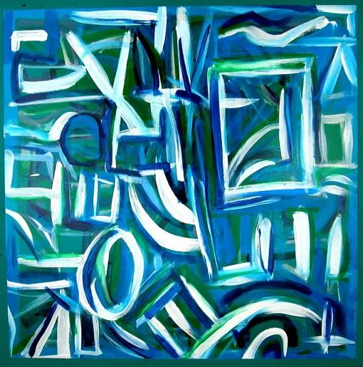 Lowerglyphic Green 21×21 Oil on chalkboard