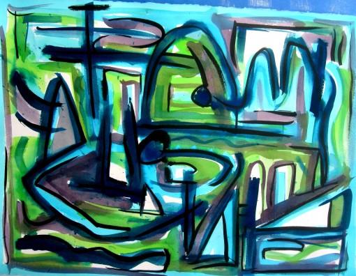 Riverbend 22 1-2×30 Watercolor