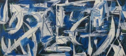 slicedblu 9×18 Oil on paper
