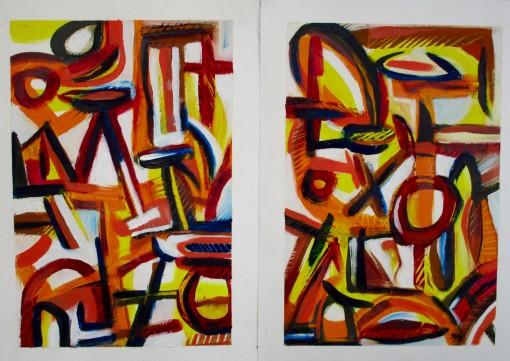 Festview2-Diptych-10×14-each-Oil-on-Paper-3001